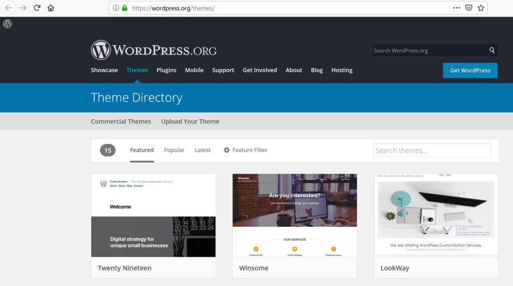 ingyenes WordPress sablonok a WordPress.org webhelyen