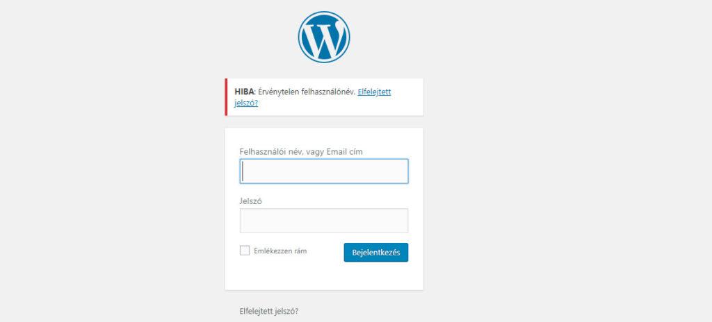 Wordpress belépés hiba