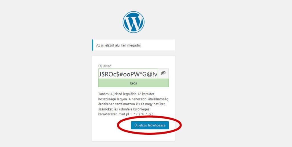 Wordpress elfelejtett jelszó új jelszó megadása