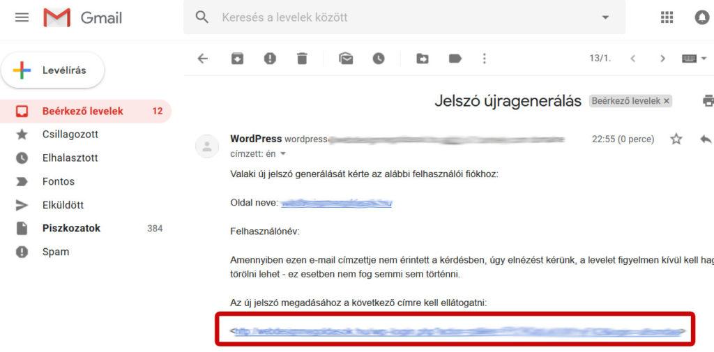 Wordpress elfelejtett jelszó újragenerálása